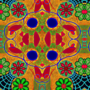 trippy bohemian velvet in red green gold and blue