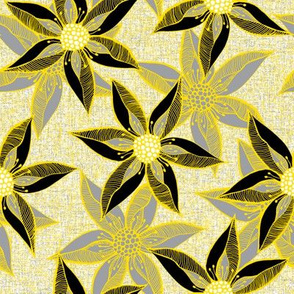 Love Blooms in Sunshine (# 10) - Mystic Grey on Icy Cream Linen Texture with Daffodil Yellow and Deep Black