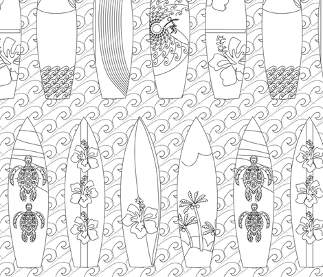 beach_scene_lake_surf_boards_black_and_white fabric by colour_angel_by_kv on Spoonflower - custom fabric