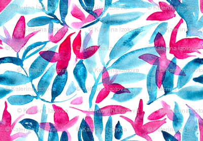 Watercolor nature pattern, hand drawn