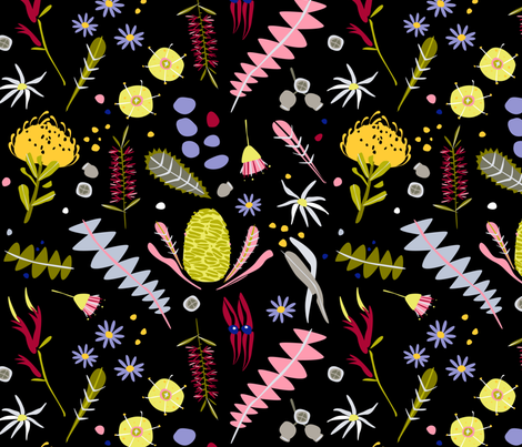Australian Botanical flowers (black) by Mount Vic and Me fabric by mountvicandme on Spoonflower - custom fabric