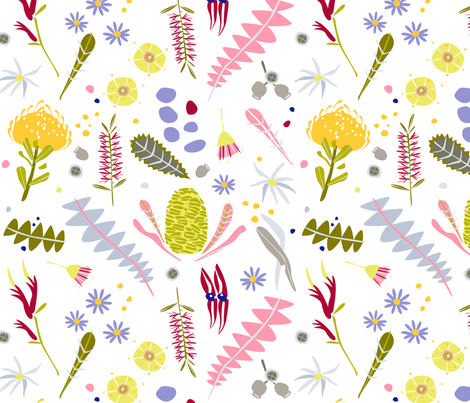 Australian Botanica flowers (white) by Mount Vic and Me fabric by mountvicandme on Spoonflower - custom fabric