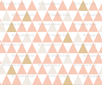 Striped Triangles Blush White