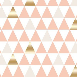 Striped Triangles Blush White