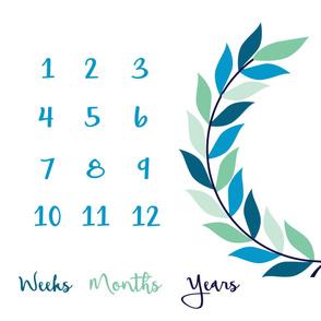 milestone-blanket-teal-blue-wreath baby blanket