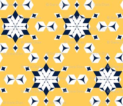 Frosty yellow snowflakes
