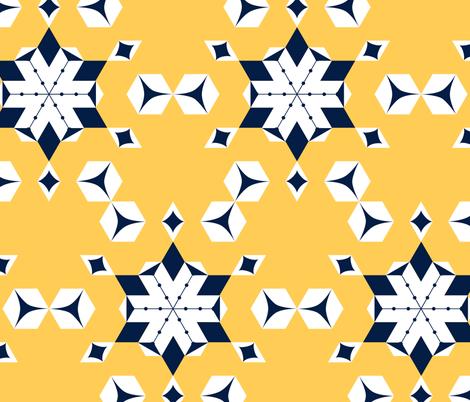 Frosty yellow snowflakes fabric by sara_dias on Spoonflower - custom fabric