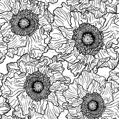 Black_and_White_Poppies_Repeat_Tile