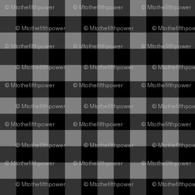 Half Inch Medium Gray and Black Gingham Check