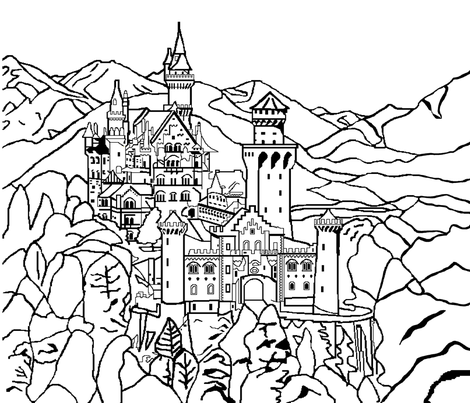 Neuschwanstein fabric by hobbitrosie on Spoonflower - custom fabric