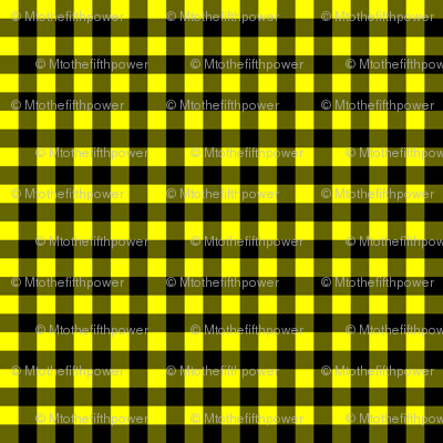 Quarter Inch Yellow and Black Gingham Check
