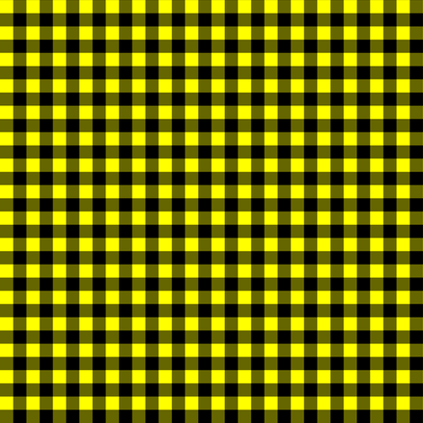 Quarter Inch Yellow and Black Gingham Check fabric by mtothefifthpower on Spoonflower - custom fabric