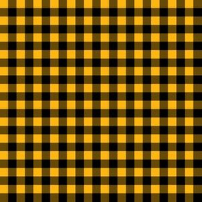 Quarter Inch Yellow Gold and Black Gingham Check