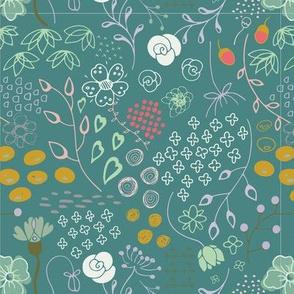 Chatsworth Parkland, Summer floral, green