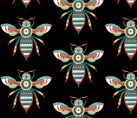 Bee Happy fabric by floramoon on Spoonflower - custom fabric