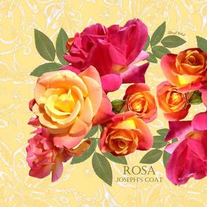 Rose Tea Towel on yellow