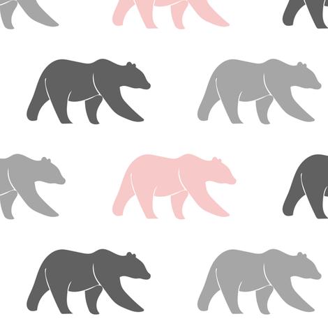 multi bears - grey & pink fabric by littlearrowdesign on Spoonflower - custom fabric