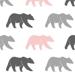 multi bears - grey & pink