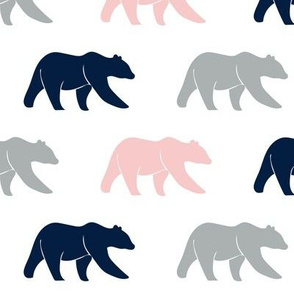 multi bear - pink, grey, & navy