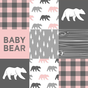 baby bear patchwork woodland wholecloth - pink and grey