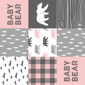 baby bear patchwork woodland wholecloth - pink and grey (90)