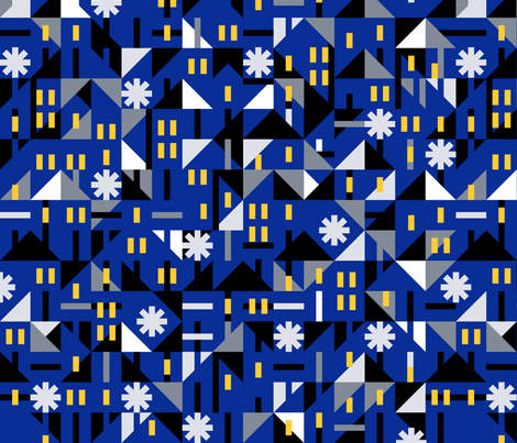 Cold night winter city fabric by daria_nokso on Spoonflower - custom fabric