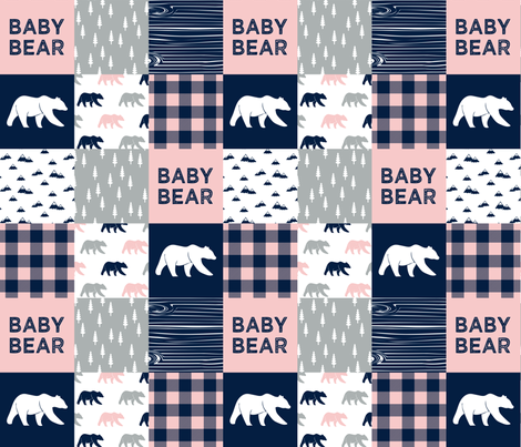 baby bear patchwork woodland wholecloth - pink and navy fabric by littlearrowdesign on Spoonflower - custom fabric