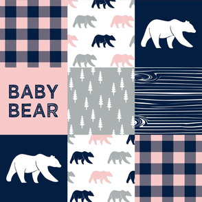 baby bear patchwork woodland wholecloth - pink and navy