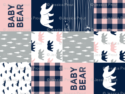 baby bear patchwork woodland wholecloth - pink and navy (90)