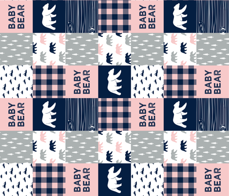 baby bear patchwork woodland wholecloth - pink and navy (90) fabric by littlearrowdesign on Spoonflower - custom fabric