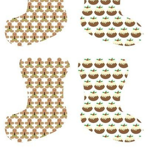 Gingerbread men & Christmas puddings in stockings