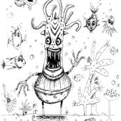 Happy Squid Boy & Friends coloring book page