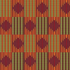 digitalKENTE Ruby Leaves Striped Check