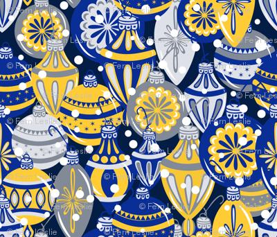 Snowy Ornaments - Large - Cobalt, Sunglow