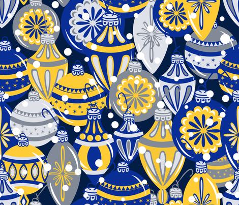 Snowy Ornaments - Large - Cobalt, Sunglow fabric by fernlesliestudio on Spoonflower - custom fabric