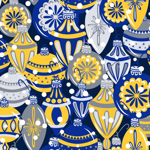 Snowy Ornaments - Large - Cobalt, Sunglow
