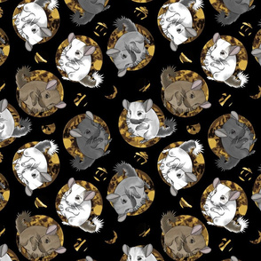 Chinchillas and moon dots - medium faux gold