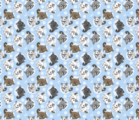 Chinchillas and moon dots - small blue fabric by rusticcorgi on Spoonflower - custom fabric