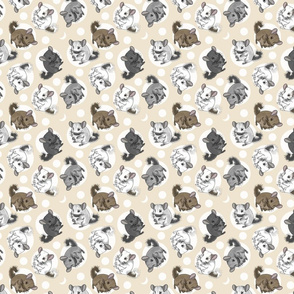 Chinchillas and moon dots - small tan