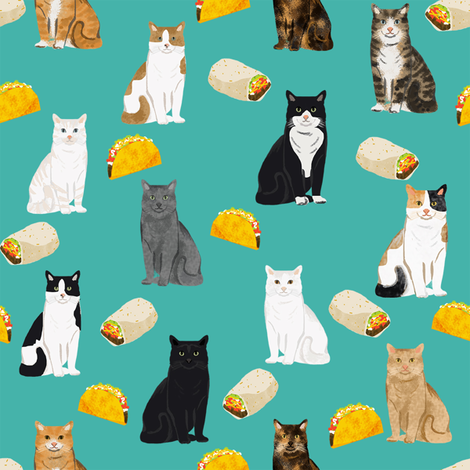 cats and tacos fabric taco and burritos mexican fabric - cat  fabric by petfriendly on Spoonflower - custom fabric