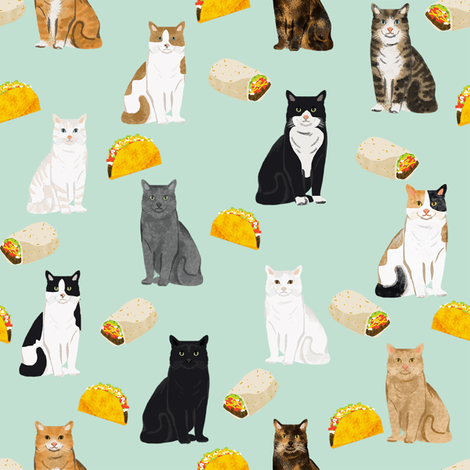 cats and tacos fabric taco and burritos mexican fabric - cat fabric by petfriendly on Spoonflower