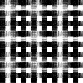 Striped Gingham Block Print in Black