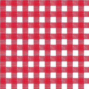 Striped Gingham Block Print in Red