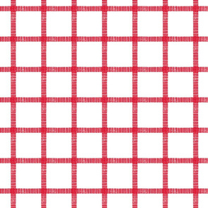 Striped Windowpane Block Print in Red