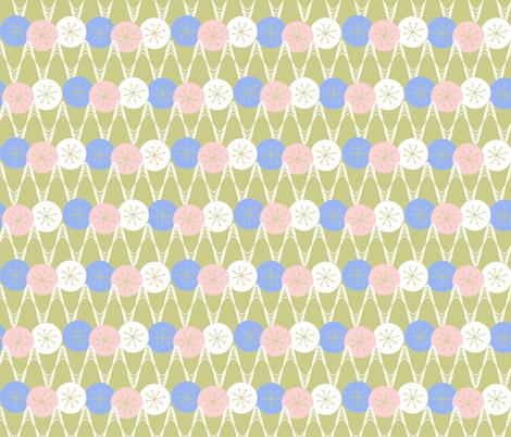 Atomic Snow Zig-Zag - sage & pink fabric by engravogirl on Spoonflower - custom fabric
