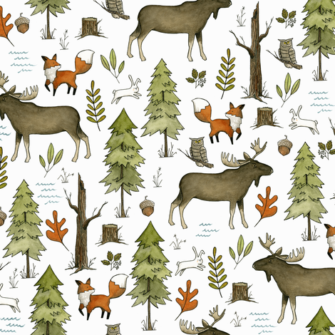 Forest Walks, Small Scale fabric by papercanoefabricshop on Spoonflower - custom fabric
