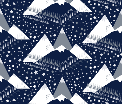 Mid Mod Icy Blues fabric by cleolovescolor on Spoonflower - custom fabric