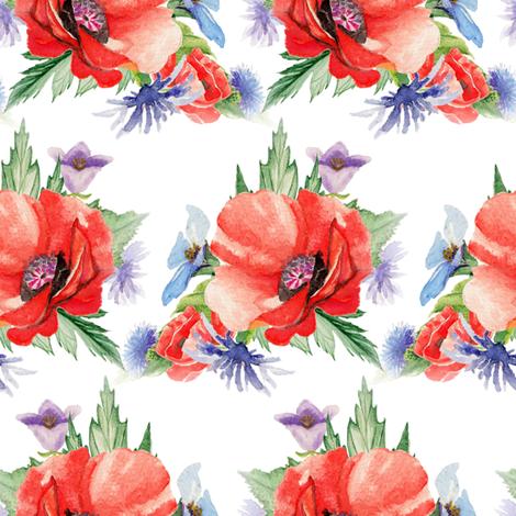 RETRO POPPY ON WHITE fabric by floweryhat on Spoonflower - custom fabric