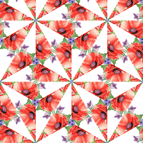 RETRO POPPY STARS triangle on white fabric by floweryhat on Spoonflower - custom fabric