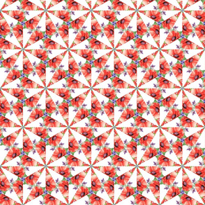 RETRO POPPY STARS triangle on white